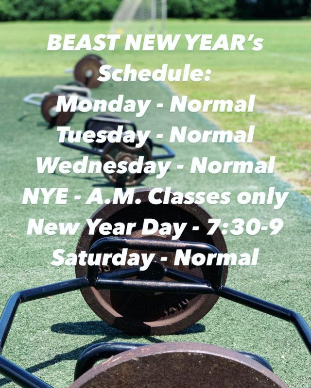 BEAST NATION,  Here's this weeks schedule.  Once again New Year's Eve and New Year's Day is a COME ONE COME ALL event for Family and Friends!!!! . . OUTDOOR FITNESS EVOLUTION! BEAST MODE ACTIVATE!  . . . #newyearworkout #outdoorfitness #noholdingback #letsgetit #nomercy #putinwork