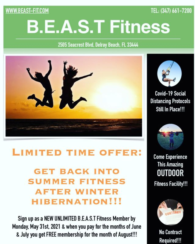 BEAST NATION,  Get the word out about this amazing Summer promotion!!!  . . Any current BEAST member that brings in a new member for this promotion will get a BEAST dry fit shirt.  . . #summerworkout #memorialspecial #hibernationover #bootcamp #outdoorfitness #outdoorworkout #comejoinus #sunmerpromotion